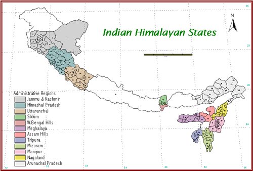 Himalaya India Map.Indian Himalayan Region Envis Centre On Himalayan Ecology Gbpihed